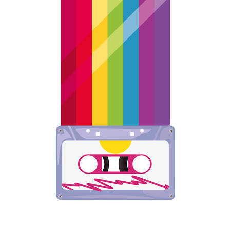 cassette tapes music rainbow retro 80s style vector illustration