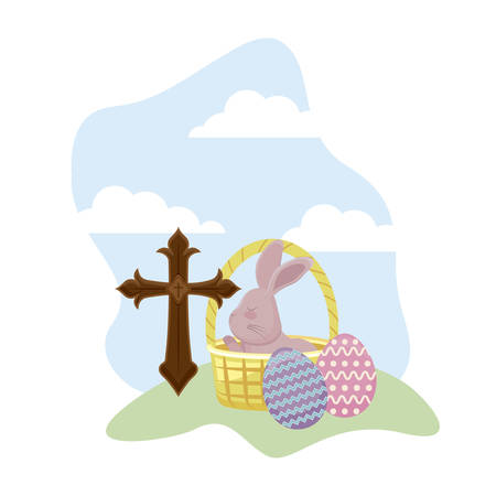 rabbit with eggs of easter and basket wicker vector illustration design