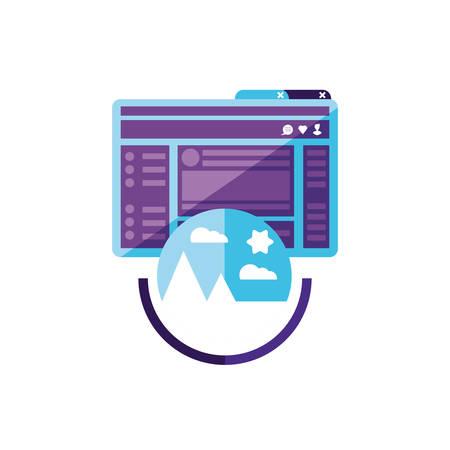 webpage template with picture file format vector illustration design Ilustração