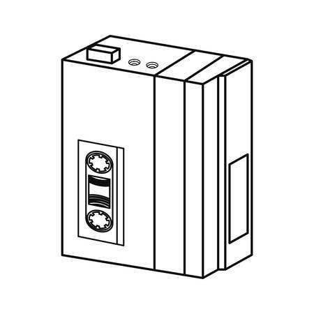 portable music cassette memphis retro 80s style vector illustration
