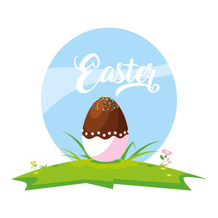 decorated easter egg with candy in grass vector illustration design