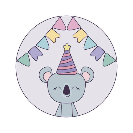 cute koala with hat party in frame circular vector illustration design