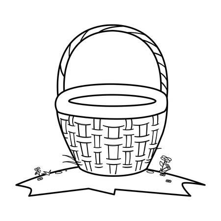 cute basket straw icon vector illustration design