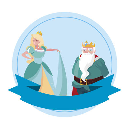 beautiful princess and king of tales characters vector illustration design