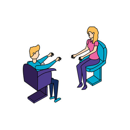 business couple workers seated in the office chairs vector illustration design