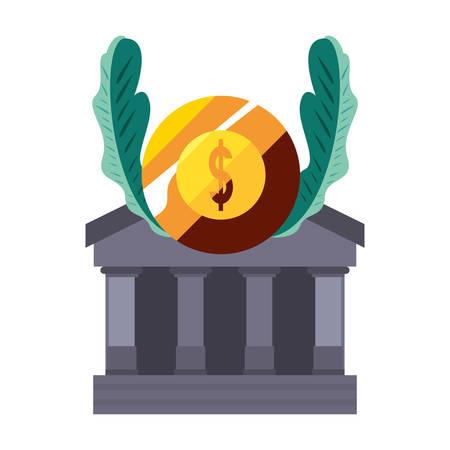 bank gold coin money dollar vector illustration 向量圖像