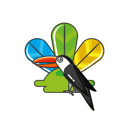toucan bird animal with feathers vector illustration design