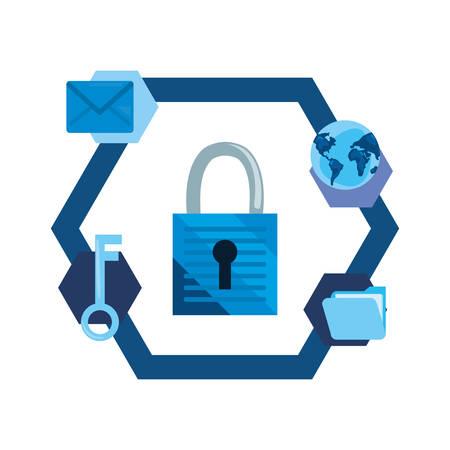 padlock world key cybersecurity data protection vector illustration