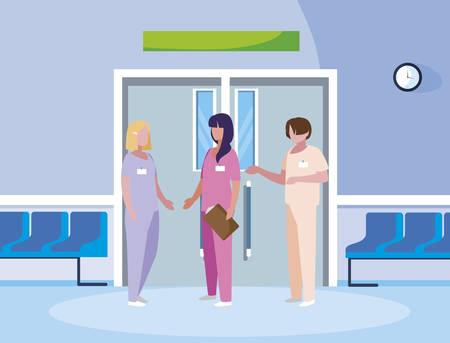 group medicine workers in elevator door vector illustration design Stok Fotoğraf - 128606805