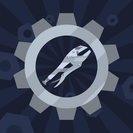 adjustable spanner tool gear vector illustration design