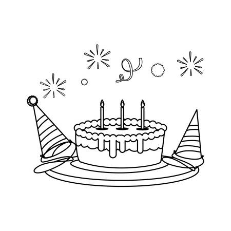sweet cake birthday with party hats vector illustration design Imagens - 128607454