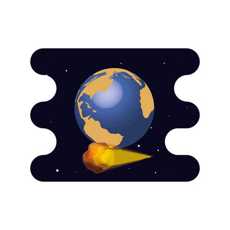 earth planet with meteorite scene space vector illustration design