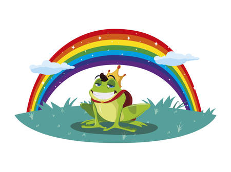 toad prince with rainbow fairytale character vector illustration design  イラスト・ベクター素材