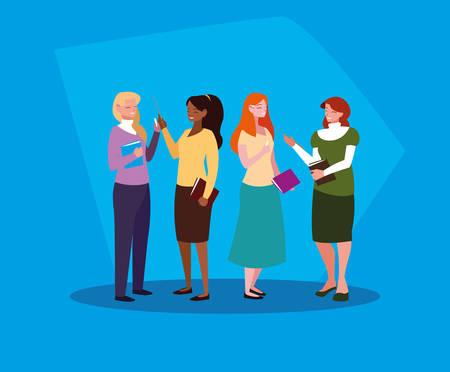 group of teachers girls avatar character vector illustration design Illustration