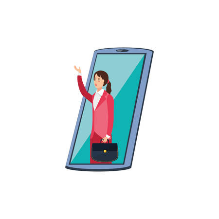 business woman in smartphone device vector illustration design 向量圖像