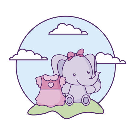 cute little elephant baby with dress girl in landscape vector illustration design Ilustracja