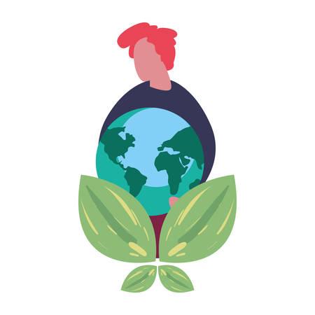 man holding world leaves earth day vector illustration