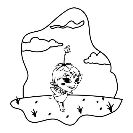 beautiful magic fairy in the camp vector illustration design  イラスト・ベクター素材