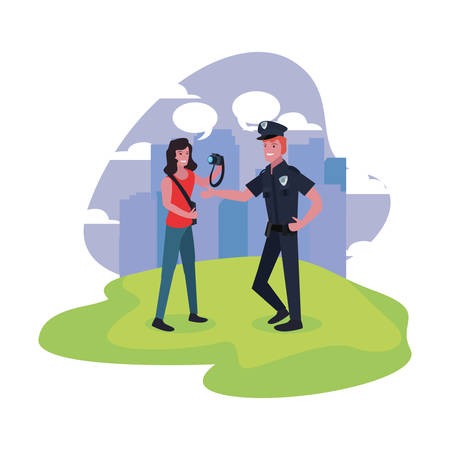 female photographer and policeman labour day vector illustration