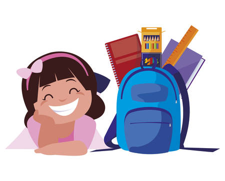 happy little schoolgirl with schoolbag and supplies vector illustration design Ilustracja