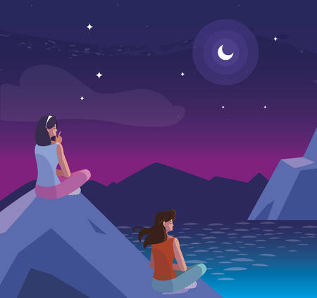 women contemplating horizon in lake and mountains at night vector illustration