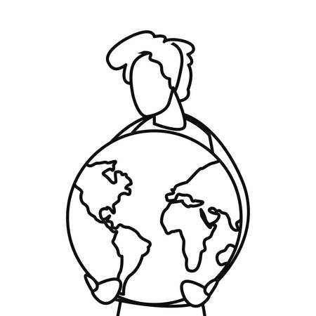 man with planet world happy earth day vector illustration Ilustracja