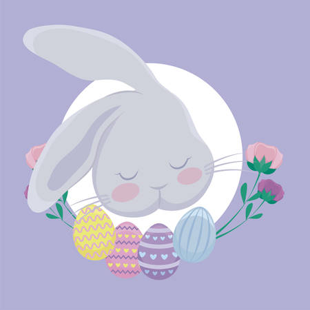 head rabbit with eggs of easter and flowers vector illustration design Ilustracja