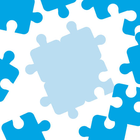 blue puzzles pieces strategy white background vector illustration