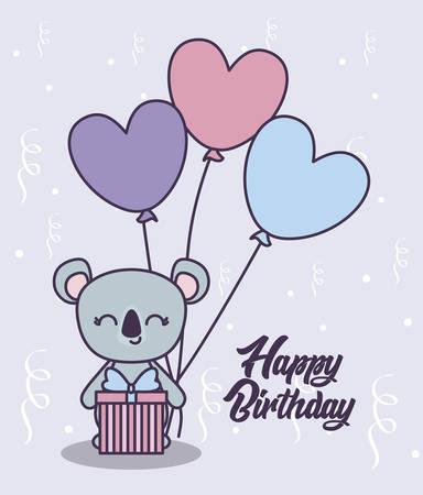 happy birthday card with cute koala vector illustration design