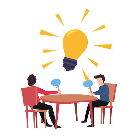 trivia night couple playing in the table vector illustration