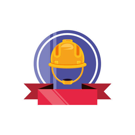 helmet construction protection with ribbon vector illustration design