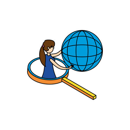 businesswoman with sphere browser and magnifying glass vector illustration