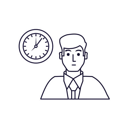 businessman elegant with clock time vector illustration design