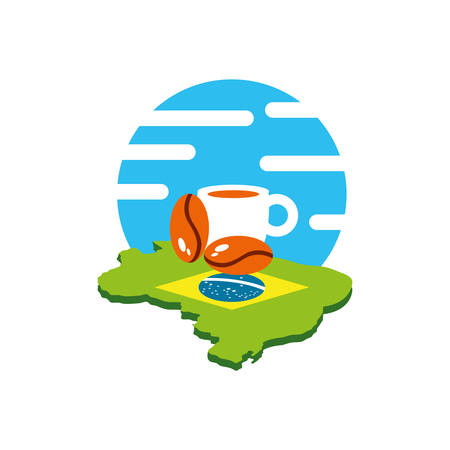 cup coffee with grains and and map of brazil vector illustration design  イラスト・ベクター素材