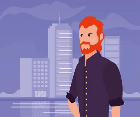 man portrait city street urban background vector illustration  イラスト・ベクター素材