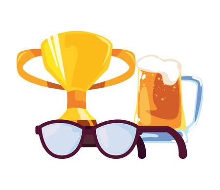 beer eyeglasses trophy award happy fathers day vector illustration Illusztráció