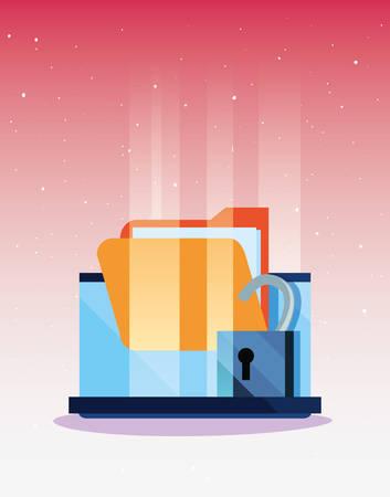 laptop folder open padlock hacker attack cybersecurity data protection vector illustration Ilustração