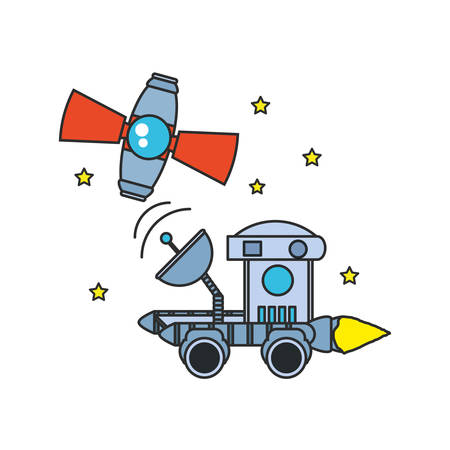 space explorer car with satellite and stars vector illustration design Иллюстрация