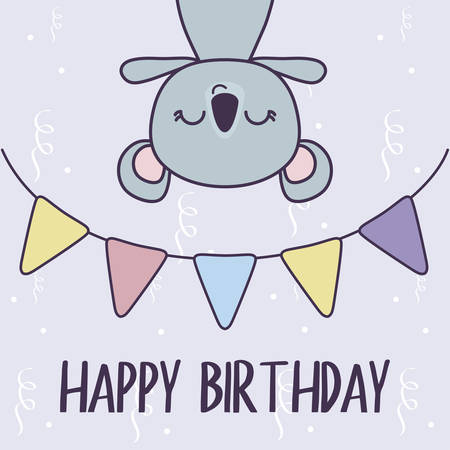 happy birthday card with koala and garlands vector illustration design