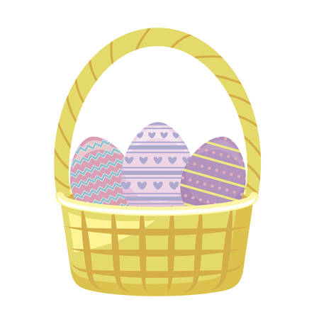 eggs of easter with basket wicker in grass vector illustration design