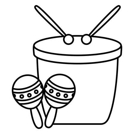 carnival bongo with maracas instruments vector illustration design