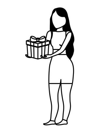 young woman with gift box vector illustration design  イラスト・ベクター素材