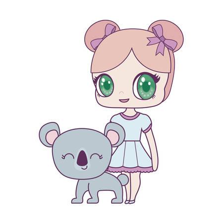 cute little doll with koala animal vector illustration design
