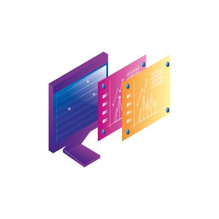desktop computer with statistics webpage templates vector illustration design