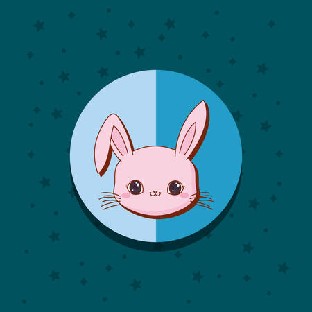 cute rabbit kawaii animals card vector illustration