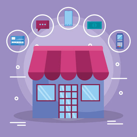 store building facade with commercial icons vector illustration design  イラスト・ベクター素材