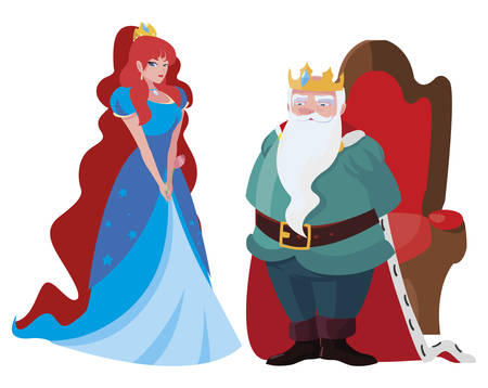 beautiful princess and king on throne of tales characters vector illustration design