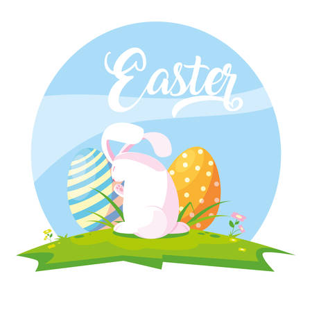 cute rabbit with eggs of easter in grass vector illustration design Ilustracja