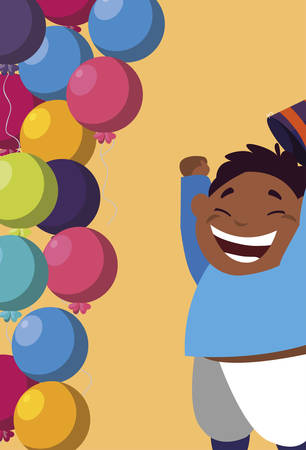 cute happy black boy with birthday balloons helium vector illustration design