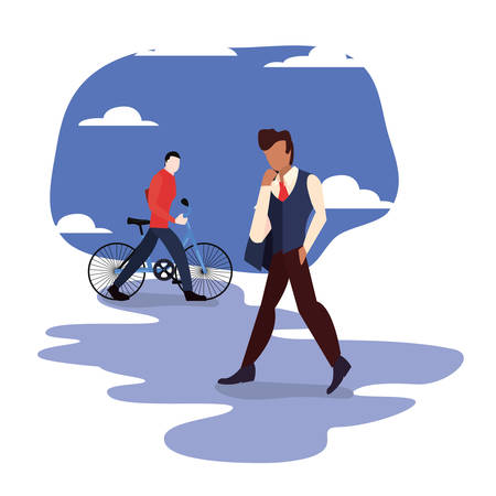 man walk and guy with bike city activities vector illustration